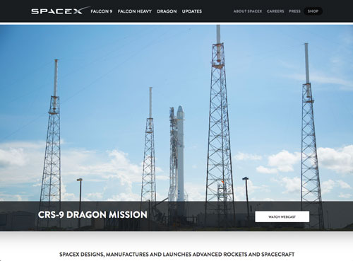 SpaceX Drupal website home page screenshot