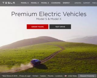 Tesla Drupal website home page screenshot