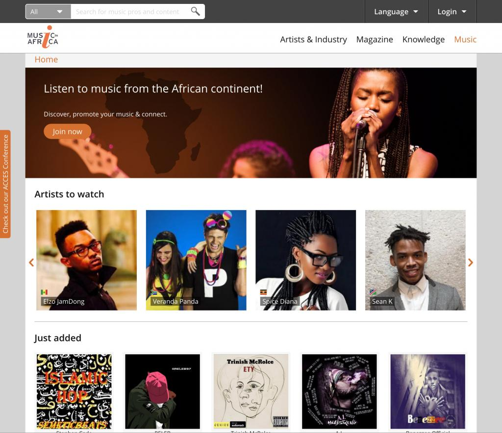 Music In Africa Music page (top)