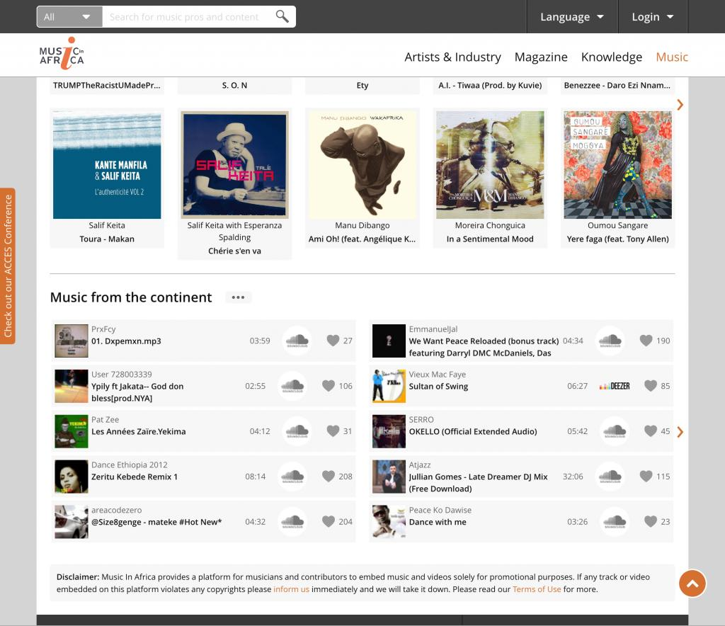 Music In Africa Music page (bottom)