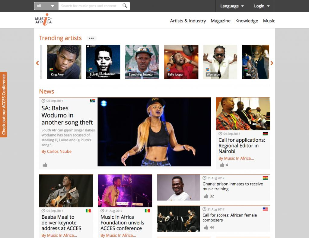 Music In Africa Home page